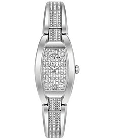 Bulova Women's Crystal Stainless Steel Bracelet Watch 19x32mm 96L235