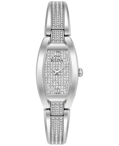 Bulova Women's Crystal Stainless Steel Bracelet Watch 19x32mm 96L235