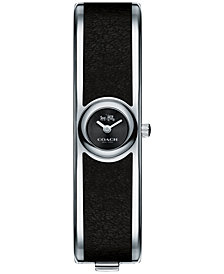 COACH Women's Scout Stainless Steel & Black Leather Bangle Bracelet Watch 16mm 14502607