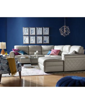 Jessi Leather Power Reclining Sectional Sofa Collection, Created For Macyu0027s