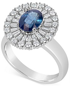 Sapphire (1-1/2 ct. t.w.) and Diamond (5/8 ct. t.w.) Ring in 14k White Gold