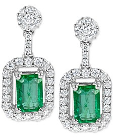 Emerald (1-1/5 ct. t.w.) and Diamond (1/2 ct. t.w.) Drop Earrings in 14k White Gold