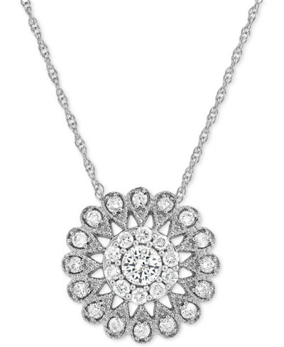 Diamond Flower Pendant Necklace (1/2 ct. t.w.) in 14k White Gold