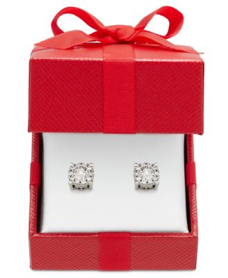 Image of Diamond Halo Stud Earrings (1/3 ct. t.w.) in 14k White, Yellow or Rose Gold