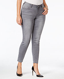 Standards and Practices Trendy Plus Size Grey Wash Skinny Jeans