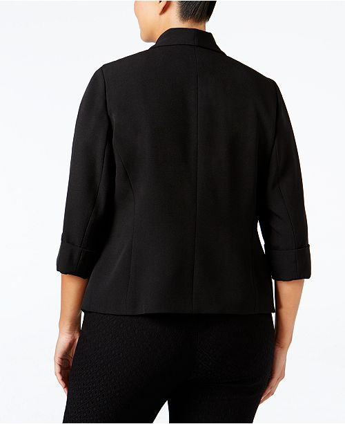 Black Soft Kasper Plus Open Front Size Jacket xYqYIw8dr