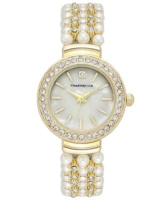 Charter Club Women's Crystal Gold-Tone Imitation Pearl Bracelet Watch 28mm, Only at Macy's