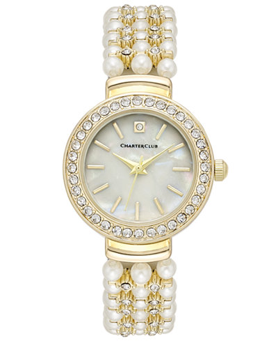 Charter Club Women's Crystal Gold-Tone Imitation Pearl Bracelet Watch 28mm, Created for Macy's