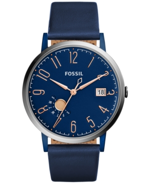 Fossil Women's Vintage Muse Blue Leather Strap Watch 40mm ES