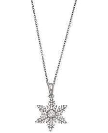Giani Bernini Cubic Zirconia Snowflake Pendant Necklace in Sterling Silver, Created for Macy's