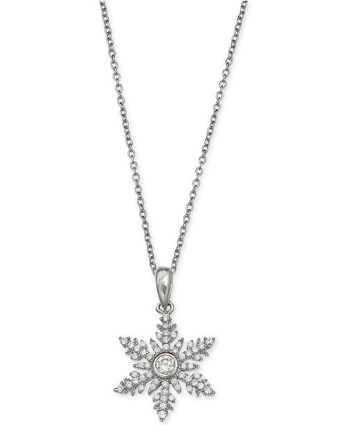 Macy's Giani Bernini Cubic Zirconia Snowflake Pendant Necklace in Sterling Silver, Created for Macy's