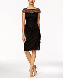 MSK Beaded Ruched Sheath Dress