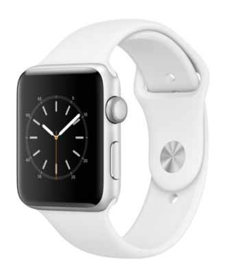 Image of Apple Watch Series 2 42mm Silver-Tone Aluminum Case with White Sport Band