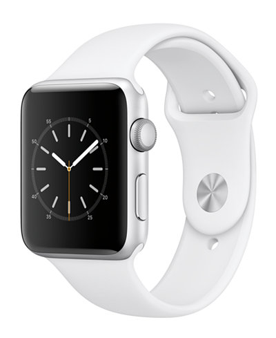 Apple Watch Series 2 42mm Silver-Tone Aluminum Case with White Sport Band
