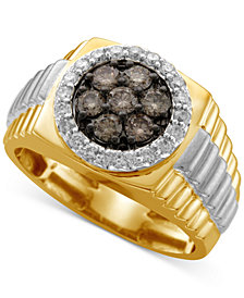 Men's Diamond Cluster Two-Tone Ring (1 ct. t.w.) in 10k Yellow and White Gold