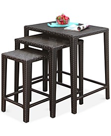 Gia Outdoor Wicker 3-Pc. Tea Table Set, Quick Ship