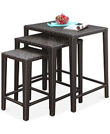 Gia Outdoor Wicker 3-Pc. Tea Table Set, Quick Ship