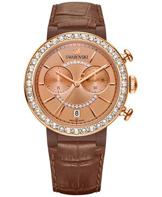 Swarovski Women's Swiss Chronograph Citra Sphere Brown Leather Strap Watch 38mm 5183367