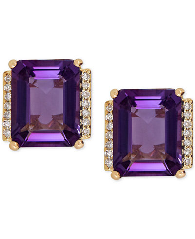 Amethyst (4-1/5 ct. t.w.) and Diamond Accent Stud Earrings in 14k Gold