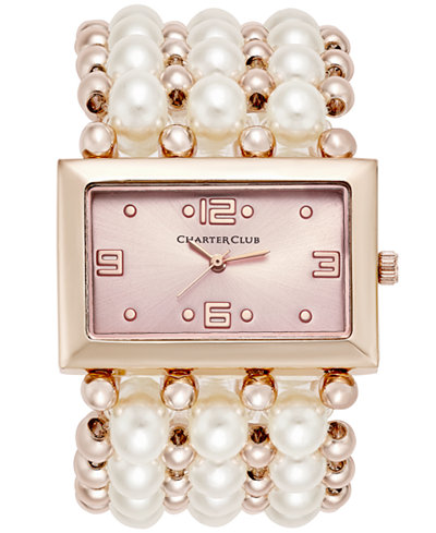 Charter Club Women's Rose Gold-Tone Imitation Pearl Stretch Bracelet Watch 40mm, Only at Macy's