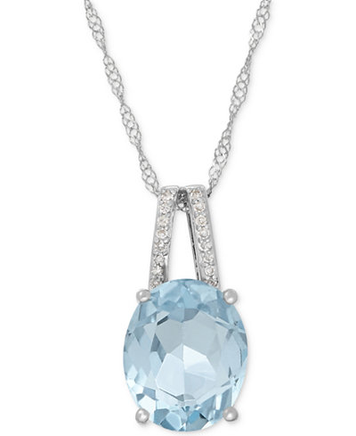 Aquamarine (2-1/5 ct. t.w.) and Diamond Accent Pendant Necklace in 14k White Gold