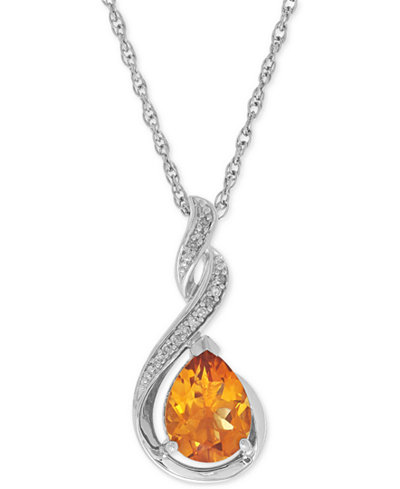 Citrine (1-1/2 ct. t.w.) and Diamond Accent Swirl Pendant Necklace in Sterling Silver