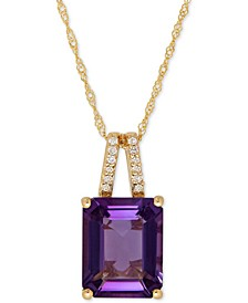 Amethyst (2-9/10 ct. t.w.) and Diamond Accent Pendant Necklace in 14k Rose Gold (Also Available in Blue Topaz)