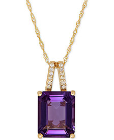 Amethyst (2-9/10 ct. t.w.) and Diamond Accent Pendant Necklace in 14k Rose Gold (Also Available in London Blue Topaz)