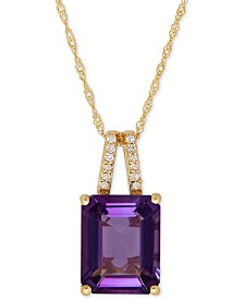 London Blue Topaz (4 ct. t.w.) and Diamond Accent Pendant Necklace in 14k Rose Gold (Also Available in Amethyst)
