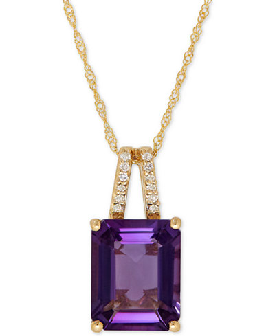 Amethyst (2-9/10 ct. t.w.) and Diamond Accent Pendant Necklace in 14k Gold