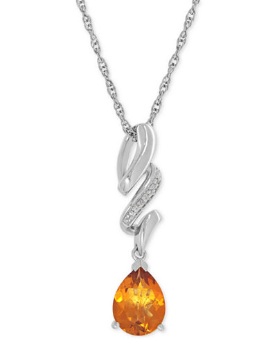 Citrine (1-1/2 ct. t.w.) and Diamond Accent Swirly Pendant Necklace in Sterling Silver