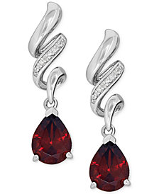 Garnet (2-5/8 ct. t.w.) and Diamond Accent Swirl Drop Earrings in Sterling Silver
