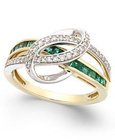 Emerald (3/4 ct. t.w.) and Diamond (1/5 ct. t.w.) Swirl Ring in 14k Gold (Also Available in Sapphire and Certified Ruby)