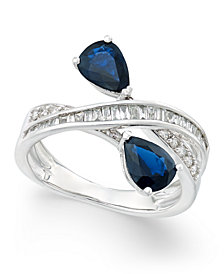 Sapphire (1-3/4 ct. t.w.) and Diamond (3/8 ct. t.w.) Crisscross Teardrop Ring in 14k White Gold