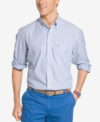 Izod men 39 s advantage gingham poplin shirt casual button for Izod button down shirts