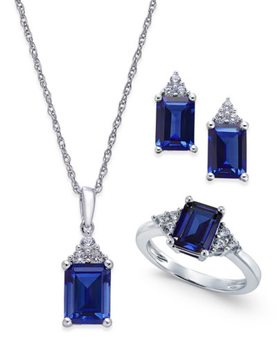 Lab-Created Blue Sapphire (5 ct. t.w.) and White Sapphire (3/8 ct. t.w.) Jewelry Set in Sterling Silver