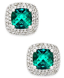 Lab-Created Emerald (1-1/3 ct. t.w.) and White Sapphire (1/3 ct. t.w.) Square Stud Earrings in Sterling Silver