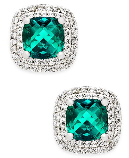 Macy's Lab-Created Emerald (1-1/3 ct. t.w.) and White Sapphire (1/3 ct. t.w.) Square Stud Earrings in Sterling Silver
