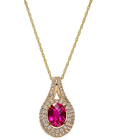 Lab-Created Ruby (2 ct. t.w.) and White Sapphire (3/4 ct. t.w.) Pendant Necklace in 14k  Gold-Plated Sterling Silver