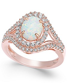 Lab-Created Opal (1 ct. t.w.) and White Sapphire (3/4 ct. t.w.) in 14k Rose Gold-Plated Sterling Silver