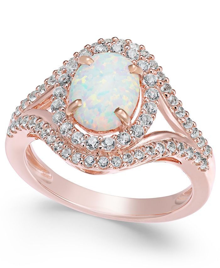 Macy's - Lab-Created Opal (1 ct. t.w.) and White Sapphire (3/4 ct. t.w.) in 14k Rose Gold-Plated Sterling Silver