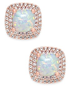 Lab-Created Opal (3/4 ct. t.w.) and White Sapphire (1/3 ct. t.w.) Square Stud Earrings in 14k Rose Gold-Plated Sterling Silver