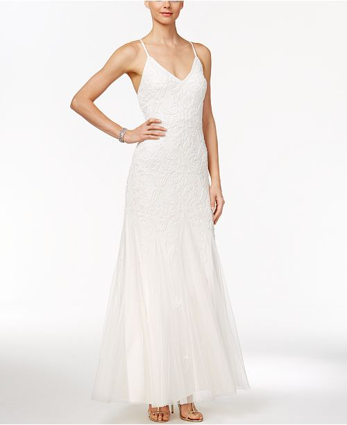 Beaded Tulle A-Line Gown