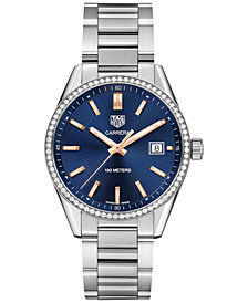 TAG Heuer Unisex Swiss Diamond (3/4 ct. t.w.) Carrera Steel Bracelet Watch 39mm