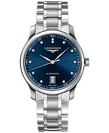 Longines Men's Swiss Automatic Master Collection Diamond Accent Stainless Steel Bracelet Watch 39mm L26284976