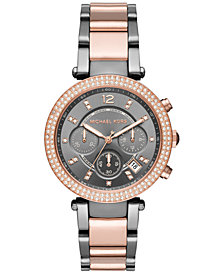 Michael Kors Women's Chronograph Parker Two-Tone Stainless Steel Bracelet Watch 39mm