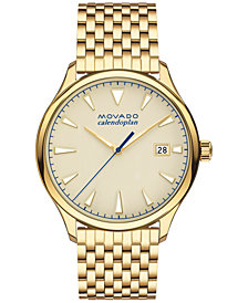 Movado Men's Swiss Heritage Gold-Tone Stainless Steel Bracelet Watch 40mm 3650013