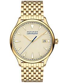 Movado Men's Swiss Heritage Gold-Tone Stainless Steel Bracelet Watch 40mm 3650013