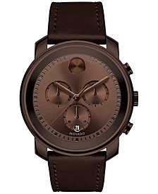 Movado Men's Swiss Chronograph Bold Brown Leather Strap Watch