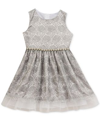 Rare Editions Mesh Embroidered Dress Toddler & Little
